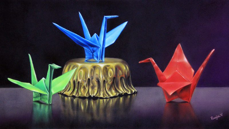 Colored pencil art of Origami Cranes and Metal